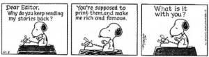 Snoopy writing strip